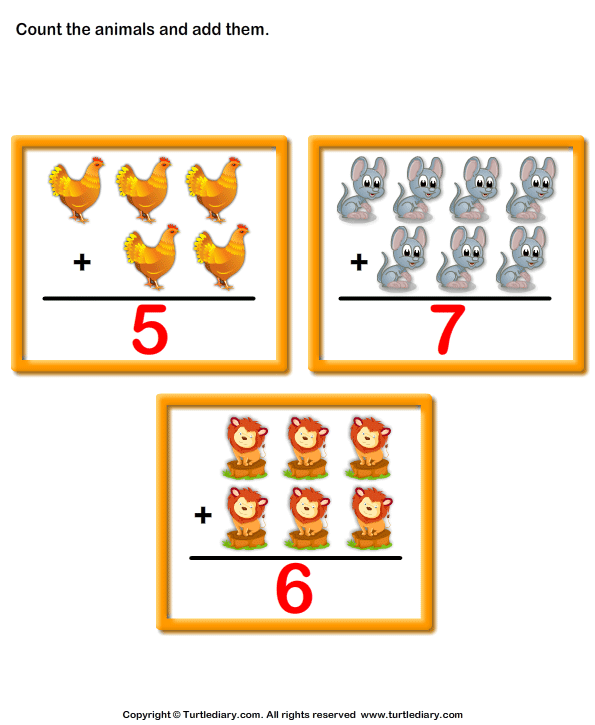 Addition with animals Answer