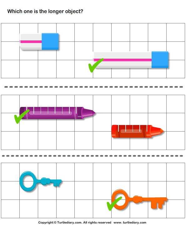 Long And Short Objects Worksheets For Kindergarten - tall ...