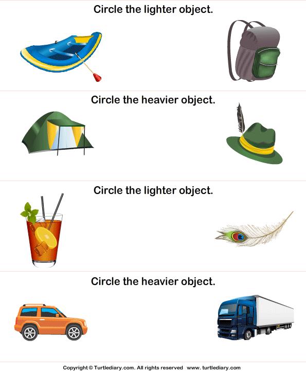 Light And Heavy 9 Worksheet - TurtleDiary.com