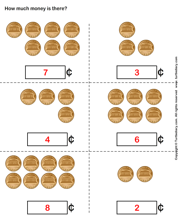Counting coins worksheets year 1