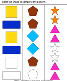Complete the shape pattern - shapes - Kindergarten