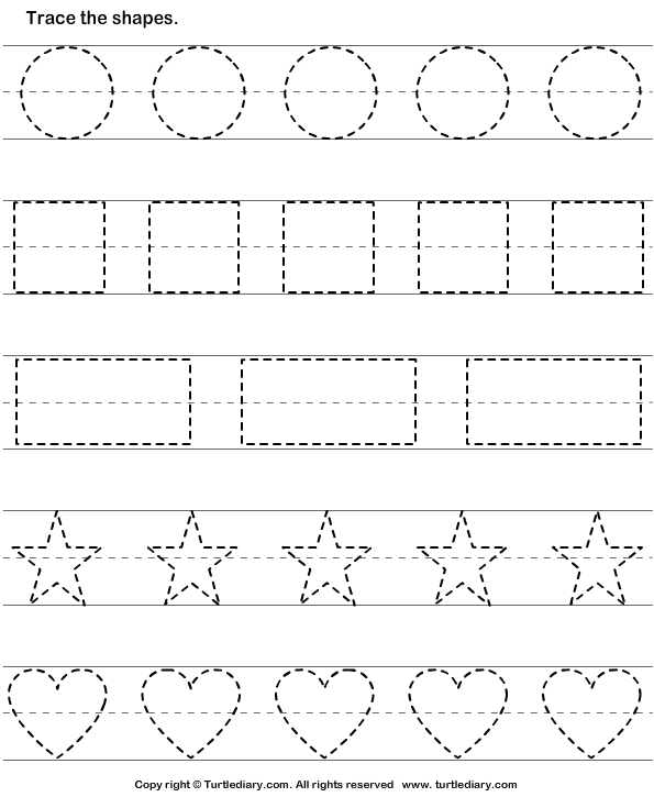 Trace and color shape 2 worksheet for Shape tracing templates