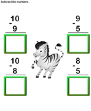 Subtract 1-digit numbers 9