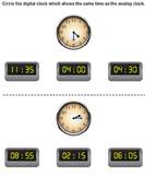 Match analog and digital clocks 10