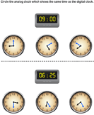 Match analog and digital clocks 13