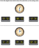 Match analog and digital clocks 1