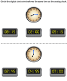 Match analog and digital clocks 3