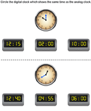 Match analog and digital clocks 8