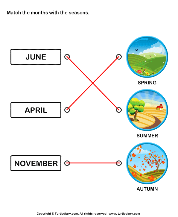 Match the months with the seasons Answer
