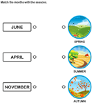 Match the months with the seasons - date-and-telling-time - Kindergarten