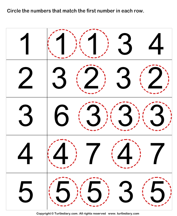 Identify numbers Answer