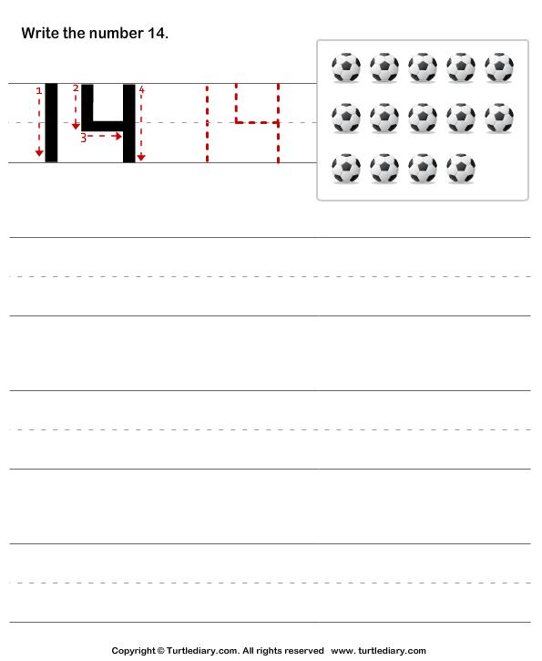 Number 14 Worksheet Number writing