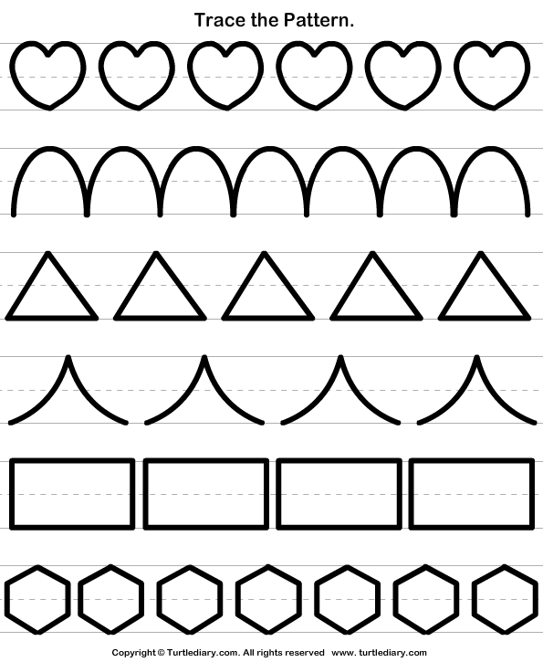 Trace The Pattern Worksheet 4 - Turtle Diary
