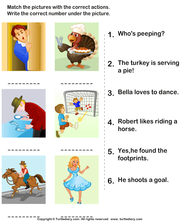 Match the Sentences to Pictures Worksheet - Turtle Diary
