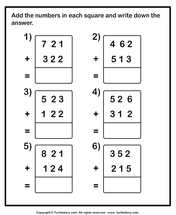 Add Two Three Digit Numbers Worksheet Turtle Diary – 3 Number Addition Worksheets