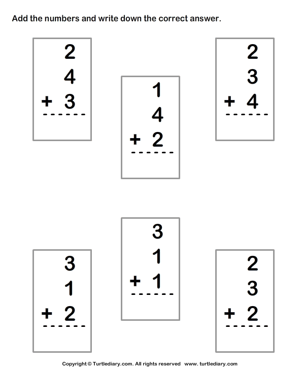 Adding Three One Digit Numbers Sums Up To Ten Worksheet Turtle Diary