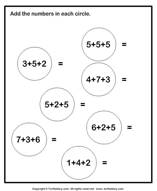 Adding Three One Digit Numbers Sums Up To Twenty Worksheet Turtle