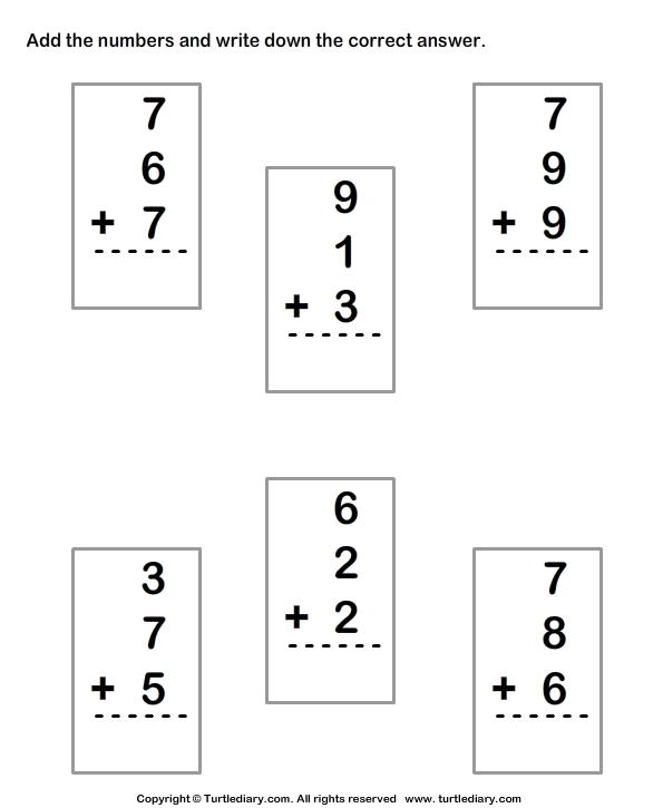 Adding Three Single Digit Numbers Sums up to Thirty Worksheet – Three Number Addition Worksheets