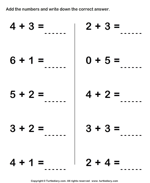 Adding Two One Digit Numbers Sums up to Ten Worksheet Turtle Diary – Addition Worksheets for First Grade