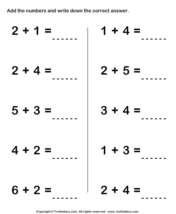 Adding Two Single Digit Numbers Sums to Ten Worksheet Turtle Diary – One Digit Addition Worksheet