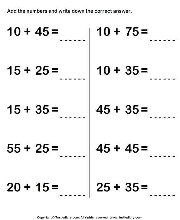 Adding Two Two Digit Numbers Sums up to Hundred with Regrouping – Addition Two Digit Numbers Worksheet