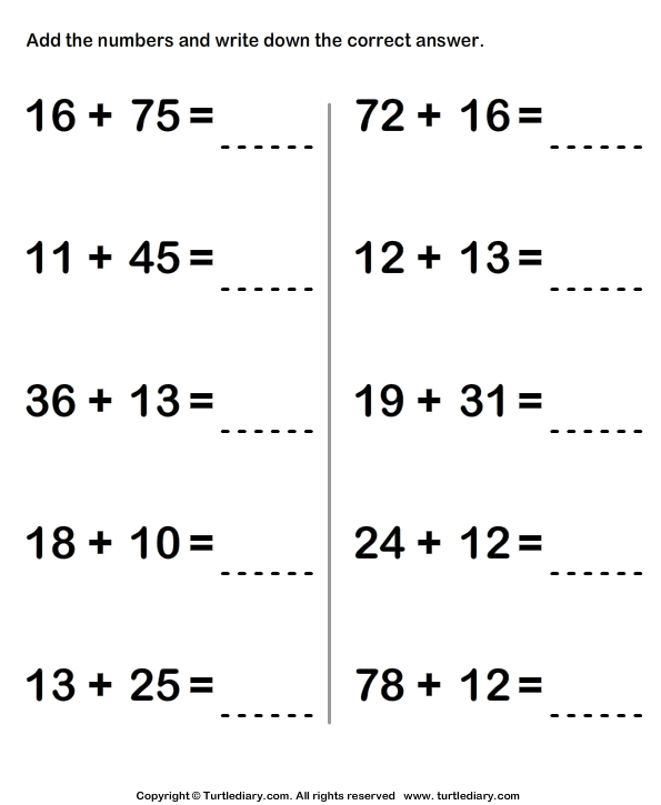 Adding Two Two Digit Numbers Sums up to Hundred Worksheet - Turtle ...
