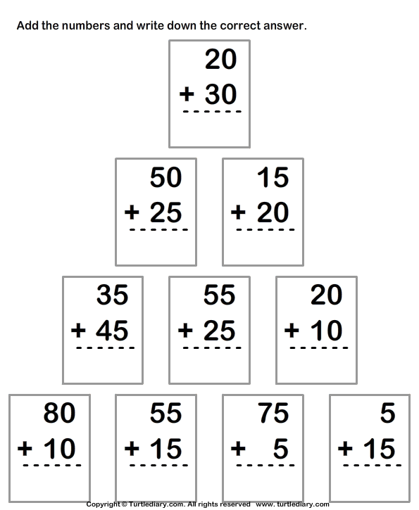 Adding Two Two Digit Numbers Within Hundred Worksheet Turtle Diary