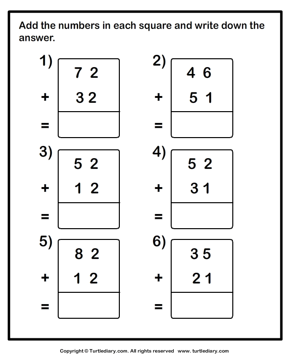 Adding Two Two Digit Numbers Without Regrouping Worksheet Turtle Diary