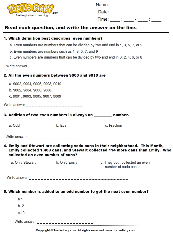 Even Numbers : Multiple Choice Questions