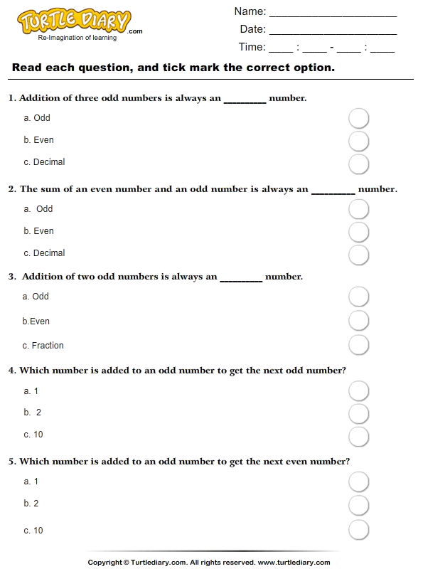 Odd Numbers : Multiple Choice Questions
