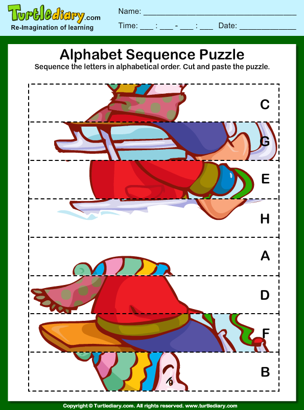 alphabet sequencing puzzle worksheet turtle diary. Black Bedroom Furniture Sets. Home Design Ideas