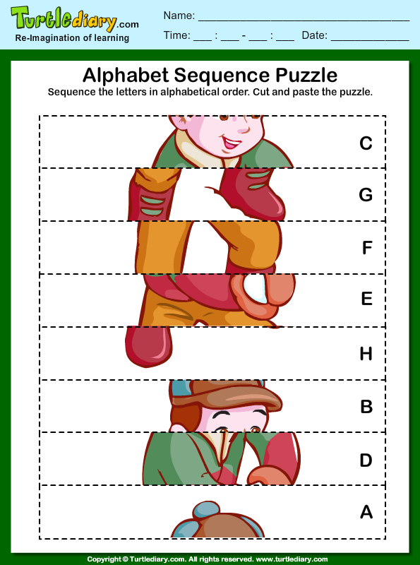 Alphabet Sequencing Worksheet - Turtle Diary