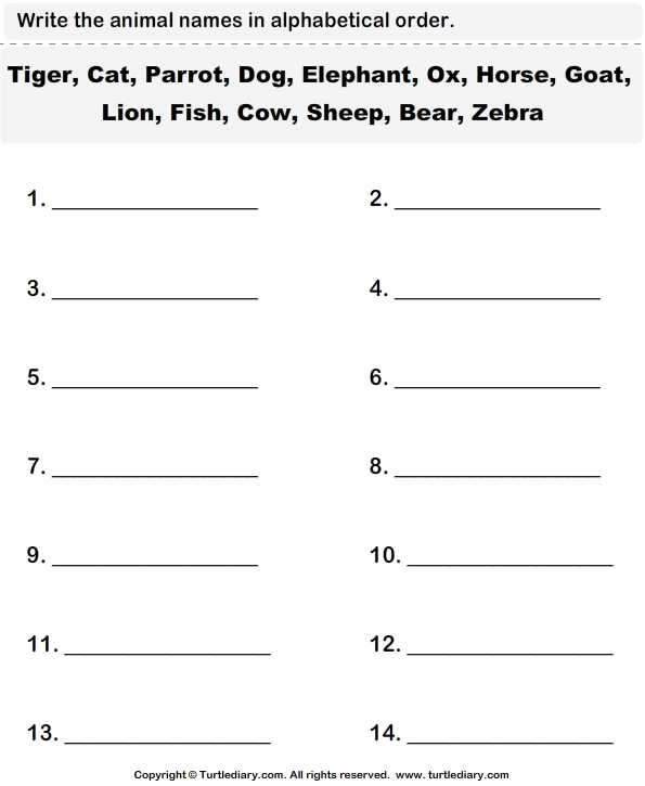 Write the Animal Names in Alphabetical Order