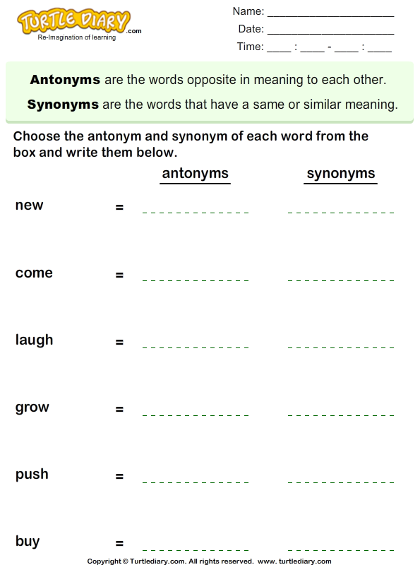 Choose the Antonym and Synonym of Words Worksheet - Turtle Diary