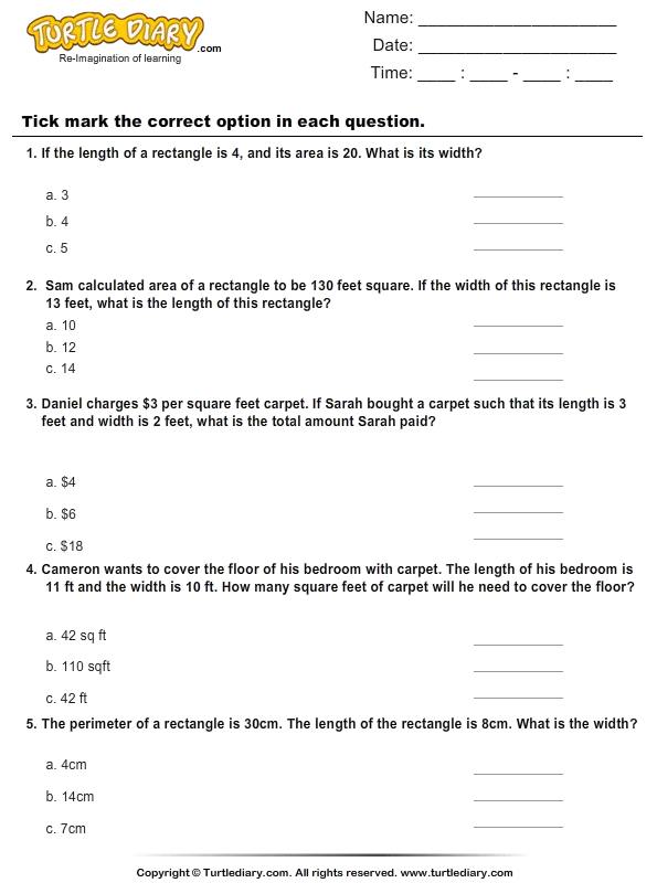Area : Multiple Choice Questions