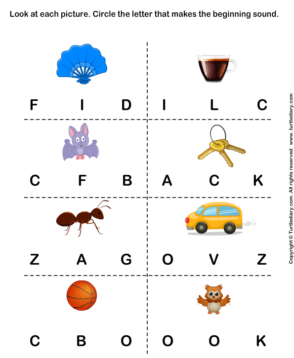 Beginning Sounds F C B K A V and O Worksheet Turtle Diary – Beginning Sounds Worksheets