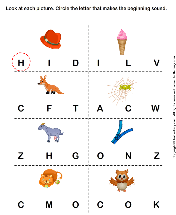 Beginning Sounds H I F W G Z C and O Worksheet - Turtle Diary