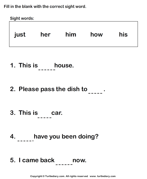 Fill in the Blanks Using Sight Words