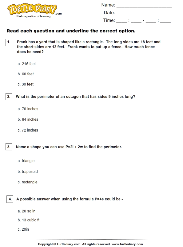 Calculate Perimeter Of Polygons Worksheet Turtle Diary