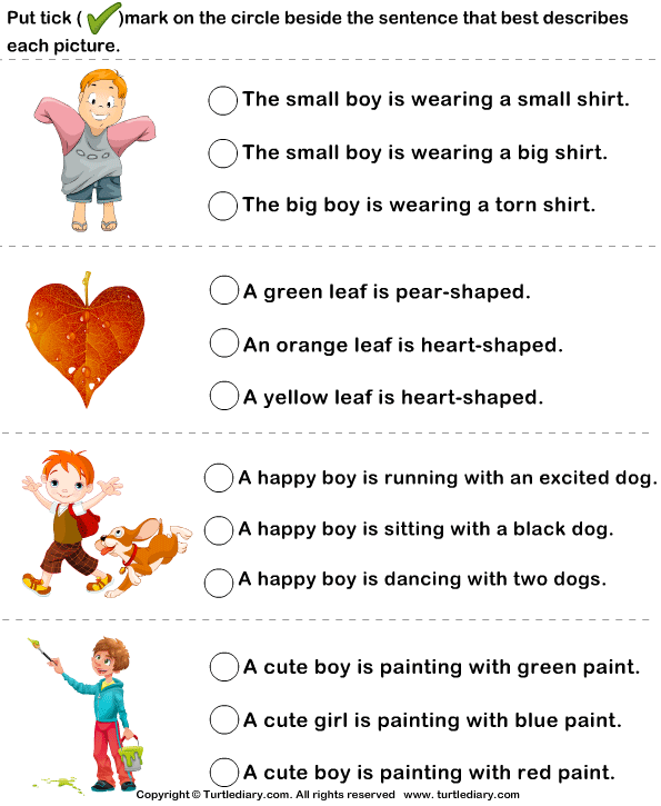choose a sentence to describe the picture - Painting Worksheets For Kindergarten