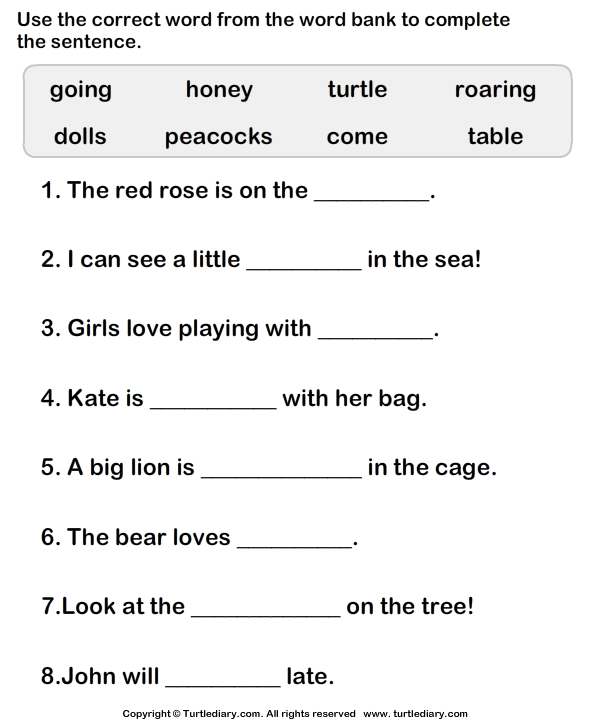 Worksheets Word Bank Worksheet choose correct word to complete the sentence worksheet turtle diary use words sentences