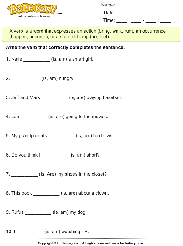 Choose the Correct Form of the Verb To Be Am Is Are Worksheet – Verb Worksheets 5th Grade