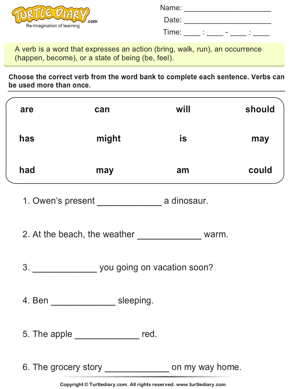 Choose the Correct Verb Is Am Are Worksheet - Turtle Diary