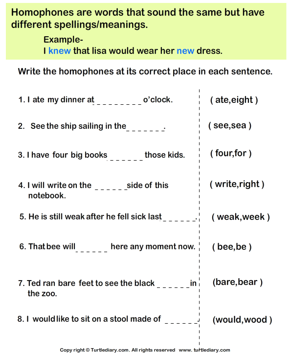 Choose The Homophone For Each Sentence on High School Worksheets With Answer Keys