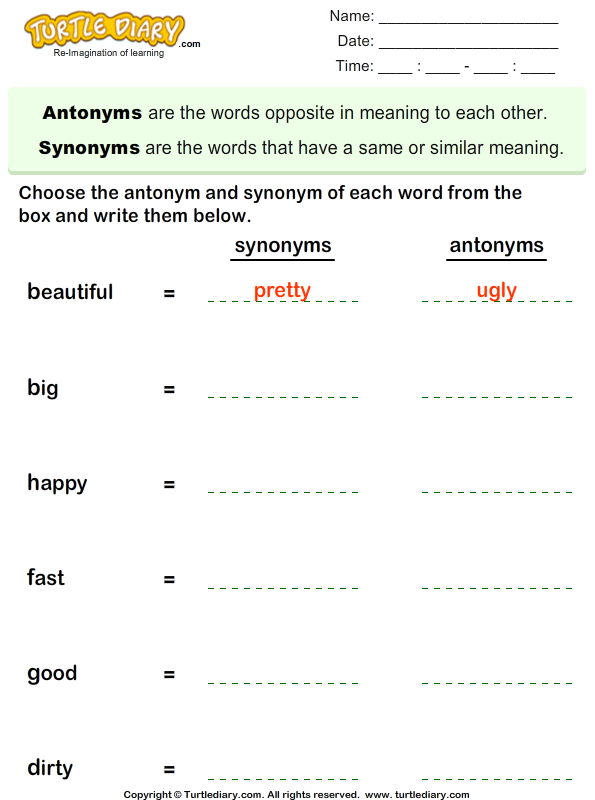 Choose the Synonym and Antonym of Words