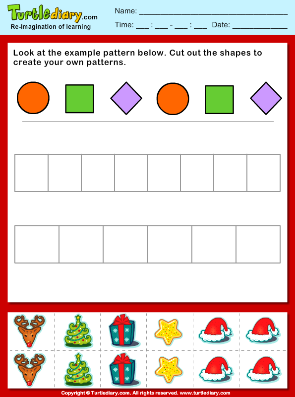 Christmas Create Your Own Pattern Worksheet - Turtle Diary