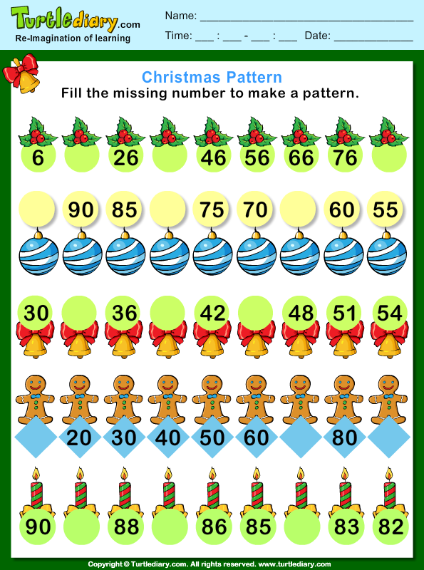 christmas find the missing number pattern worksheet turtle diary. Black Bedroom Furniture Sets. Home Design Ideas