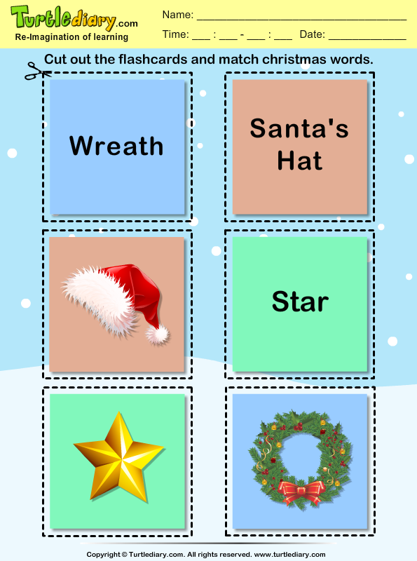 Christmas Flashcard Wreath Worksheet - Turtle Diary