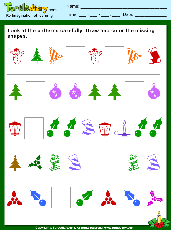 christmas pattern draw and color missing shapes worksheet turtle diary. Black Bedroom Furniture Sets. Home Design Ideas