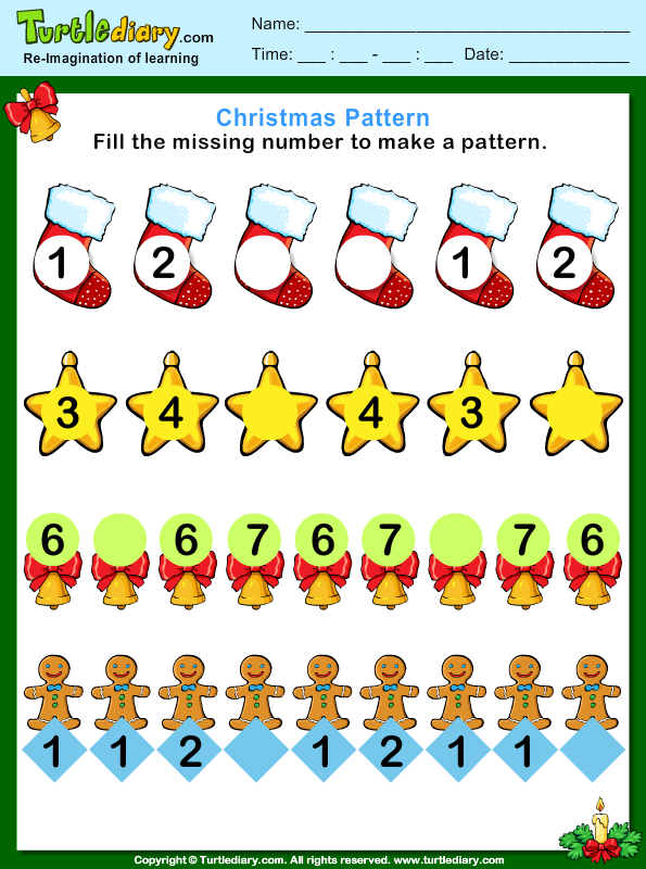 Christmas Pattern Fill Missing Numbers Worksheet - Turtle Diary